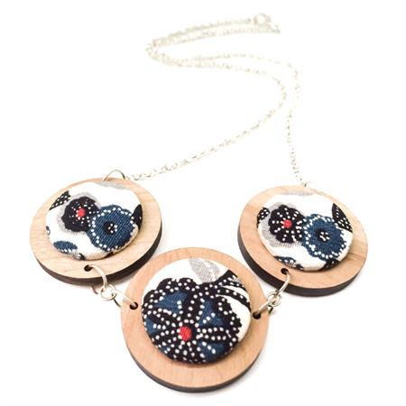 Timber and Kimono Three Disc Necklace - Dark Hues Blue