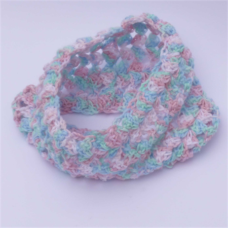 crochet cowl | multicolour pastel pink aqua blue white | gift, baby - 10+ years