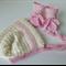 Hand Knit, 0-3m Baby Wool Bonnet Hat & Bootie Set, Cream / Pink, Newborn