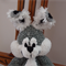 Flick- bunny rabbit - hand crocheted  - grey & white, easter, OOAK, washable