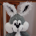 Flick- bunny rabbit - hand crocheted  - grey & white, easter, OOAK, washable
