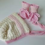 Hand Knit Wool Baby Bonnet Hat & Bootie Set, Cream / Pink, Newborn