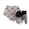 Monochrome Cloud Print Bandana Bib & Baby Shoe Gift Set