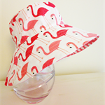 Girls summer hats in white flamingo fabric