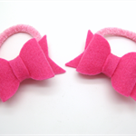 Pink Bows Hair Ties - Set of 2