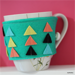 Teal Geometric Coffee Cup Cosy