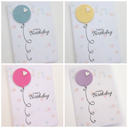 balloon birthday cards with confetti background - set of 4