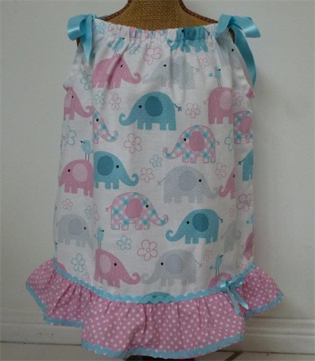 "Size 6 months - ""Cute Elephants"" Dress and Frilly Pants"