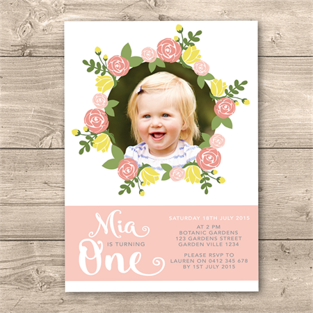 Personalised Girls 1st Birthday Printable Invitation Digital File Floral Theme