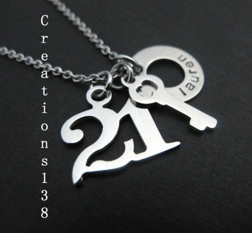 Personalised 21st Birthday Gift Idea Key Necklace Stainless Steel For Unisex Gif