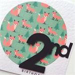 Forest woodland red fox 2nd birthday custom make any age birthday boy girl card