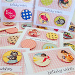 SET OF 3 Vintage pink gingham birthday wishes special handmade card