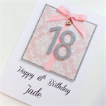 Happy Birthday 18th pink silver glitter present custom ANY AGE heart XL card