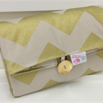 Gold Chevron Change Mat - Roll Up with Nappy and Wipes Storage