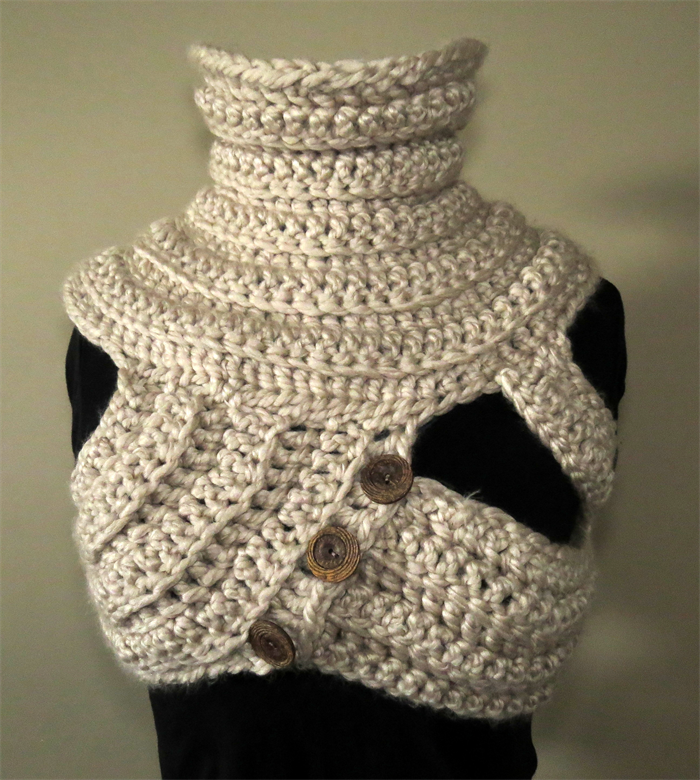 Cowl Vest Knitting Pattern Free : FUNKY COWL VEST, tribal, steampunk, chunky crochet, knitted, GnarlyKnits Gn...