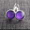 Purple Leaf Print ~ Lever Back Earrings