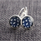 White Swallows on Navy Blue ~ Lever Back Earrings