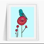 Poppy Bird Art Poster Instant Download