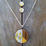 Geometric Yellow Pendant & Stud Set
