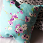 Twig Cushions for the Nest - Aqua and purple blossom linen