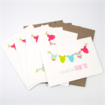 Thank You Baby Girl Card Pack - Girls Clothes - Set of 5 Cards - 5PACK_NOT505