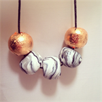 Marble & Copper Adjustable Polymer Clay Necklace