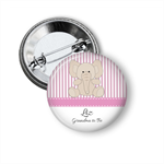 10 Personalised baby girl shower badges - Elephant