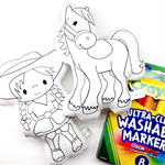 Colour Me Cowgirl and Horse with Washable Markers