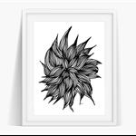 Ink Flower Art Poster Instant Download