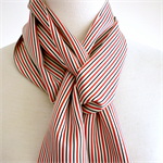 Red, black and cream striped silk scarf recycled from vintage kimono. Unisex