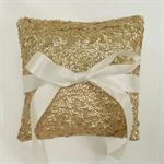 Gold Sequin Wedding Ring Pillow. Ring Bearer Pillow. Wedding Ring Dish. Cushion.