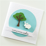 Birthday wishes green glitter tree white wooden bunny rabbit cute her card
