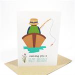 Birthday Card Male - Gone Fishing - Man in Boat - HBM057