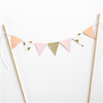 Bunting Cake Topper Pink, Peach, Gold Glitter Polka Dots and Gold Glitter
