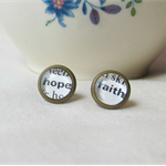 Typography Inspired Earring Studs Posts Words Text Dictionary