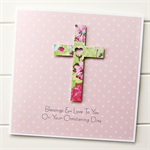Cross Personalised card florals Christening Baptism Holy Communion Confirmation