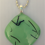 Minty Green Streaky Fused Glass Pendant