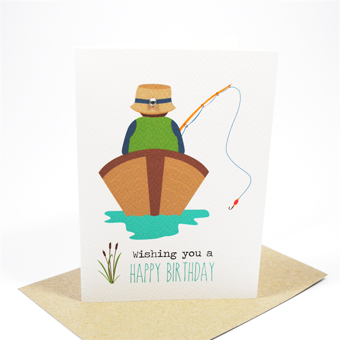 Birthday card male gone fishing man in boat hbm057 for Fishing birthday cards