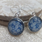 Blue and White Flower Vintage Print Earrings