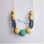 Silicone/wood/crochet teething necklace