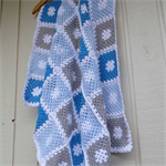 crochet baby blanket | bright blue, pastel blue, grey, white | baby shower gift