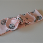 Organic baby knotted headband, Pink and with Silver Dots