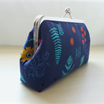 Gorgeous clutch purse in designer fabric in navy floral print.