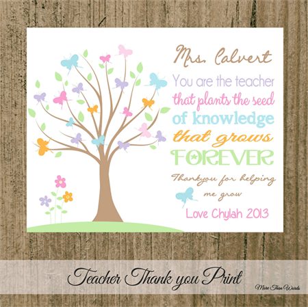 Gorgeous Butterfly Tree Teacher Thank You Gift 8x10