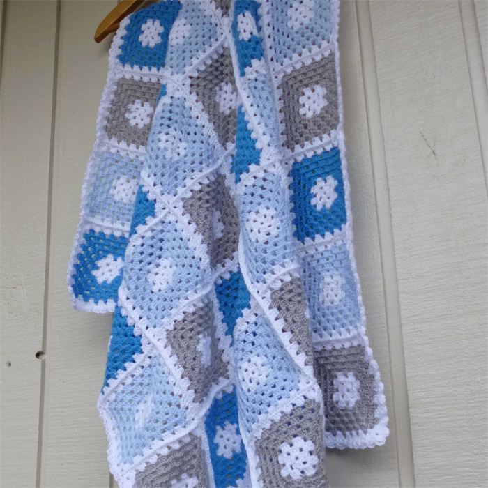 Crochet Baby Blanket Bright Blue Pastel Blue Grey White Baby