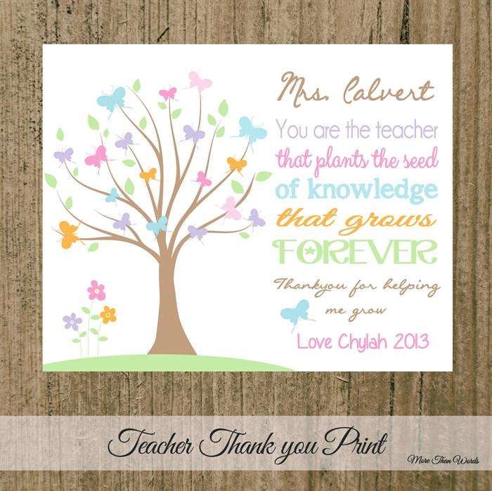 Gorgeous Erfly Tree Teacher Thank You Gift 8x10 Print