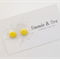 Handmade Polymer Clay Earrings Sunshine Yellow Flat