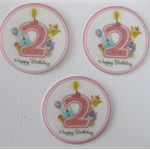 12 PRE CUT EDIBLE 2ND SECOND BIRTHDAY RICE PAPER WAFER CARD CUPCAKE  TOPPERS