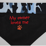 Embroidered reversible dog bandanas.