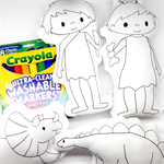 Colour Me - Cave Boy, Cave Girl and Dinosaurs with Washable Markers